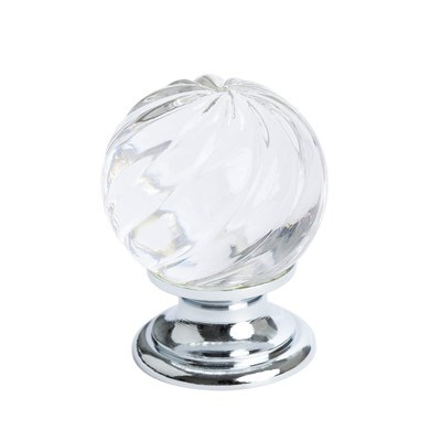 Europa Crystal Swirl Polished Chr. Knob