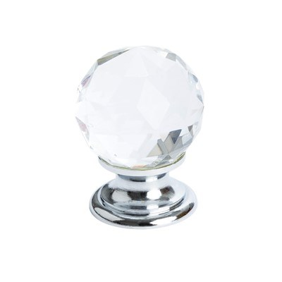 Europa Faceted Crystal Polished Chr Knob